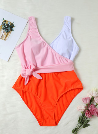 45dab3bfac65c Color-block Bowknot One-piece Swimsuit